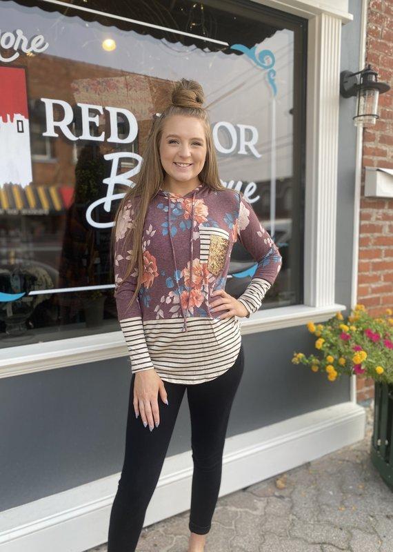 Red Door Floral sequin pocket hoodie