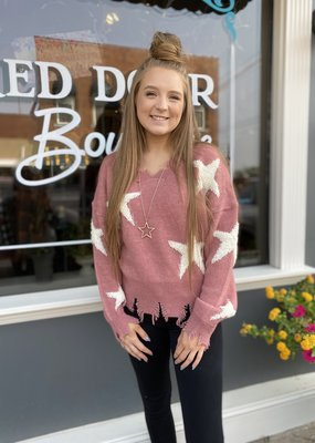 Red Door Mauve distressed sweater with white stars