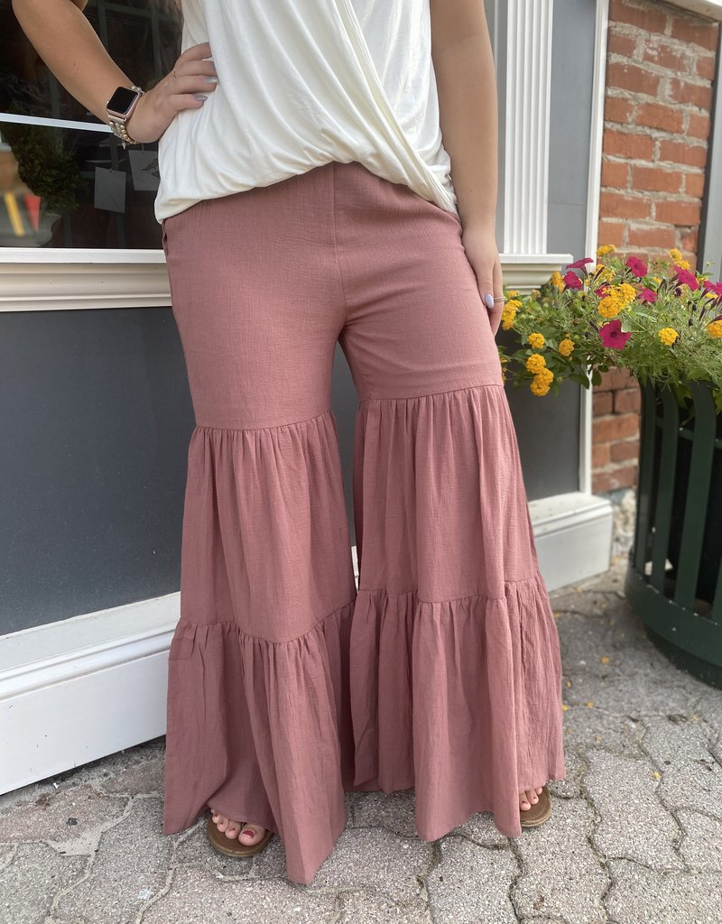 Red Door Ash rose linen tiered bell bottoms
