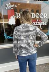 Red Door Striped tie-dye long sleeve top