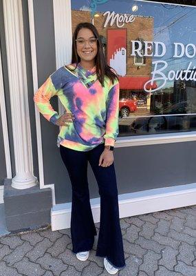Red Door Criss cross neck bright tie dye top