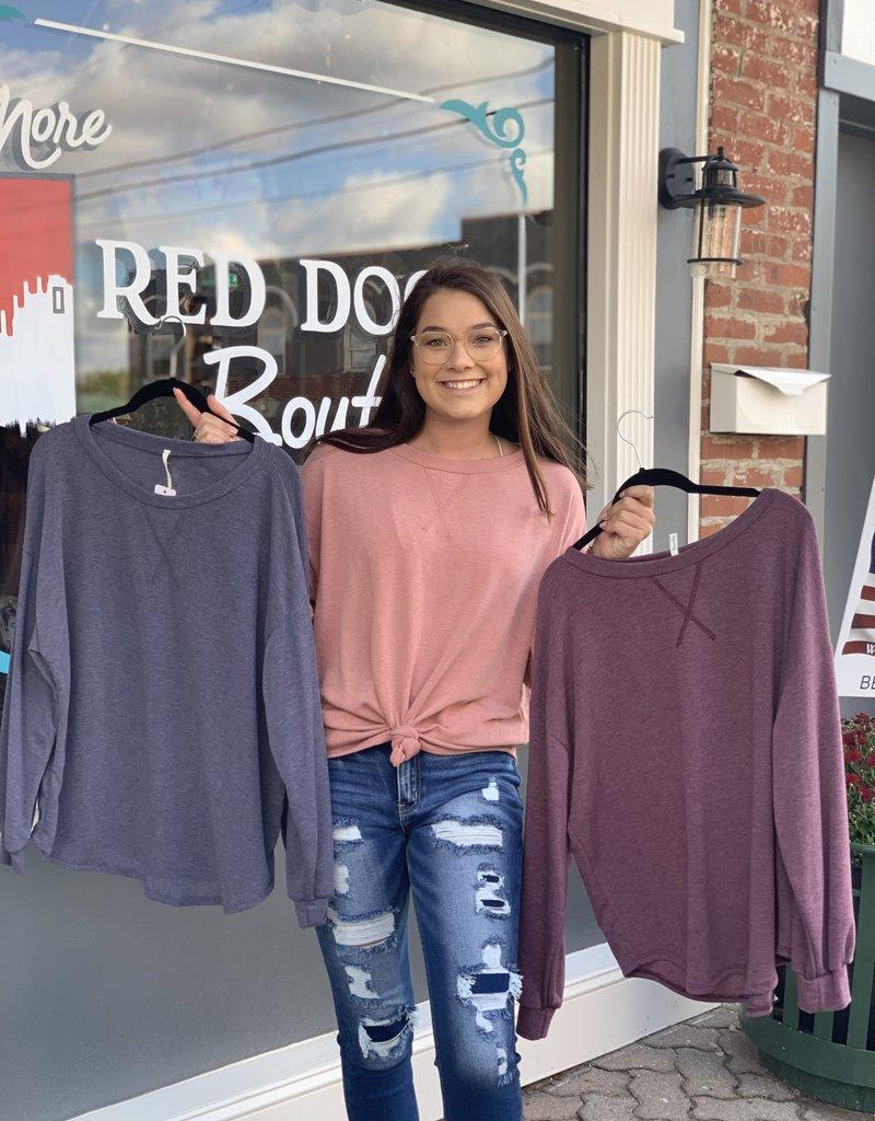 Red Door Solid french terry sweatshirt