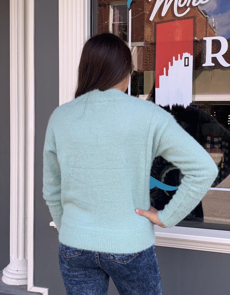 Red Door Mint surplice sweater w/ scalloped hem