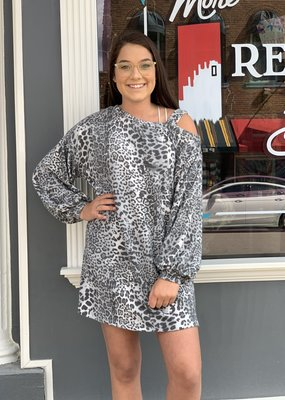 Red Door Gray leopard soft one shoulder dress