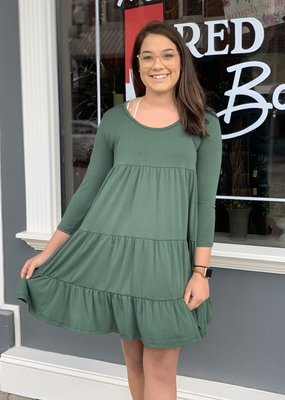 Red Door Olive ruffle tiered three quarter sleeve dress