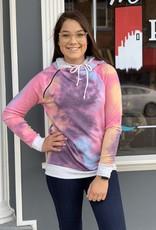 Red Door Plum tie dye double hoodie with zipper