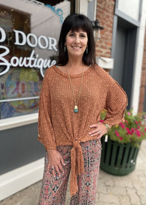Red Door Terracotta knit top with button detail