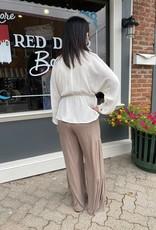 Red Door Cream collared top with side tie