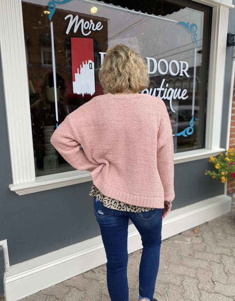 Red Door Open front Rose sweater