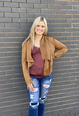 Red Door Tan Suede front zip jacket