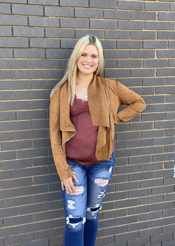 Red Door Tan Suede front zip jacket