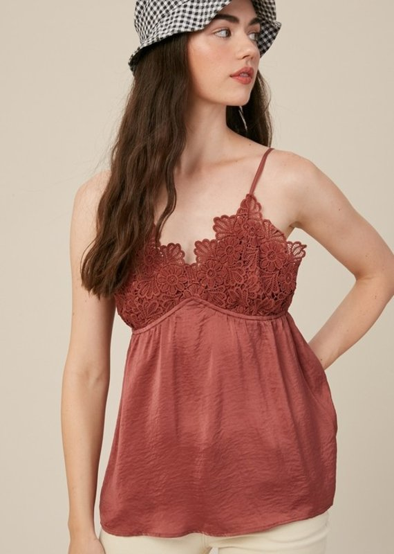 Red Door Crochet lace chest silky cami