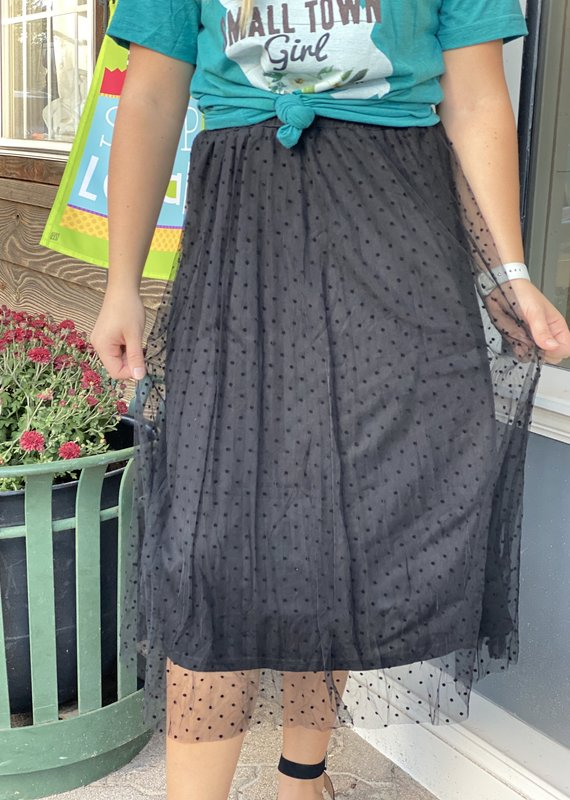 Red Door Black midi skirt with polka dots