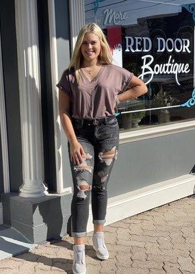 Judy Blue Fallon black distressed jean