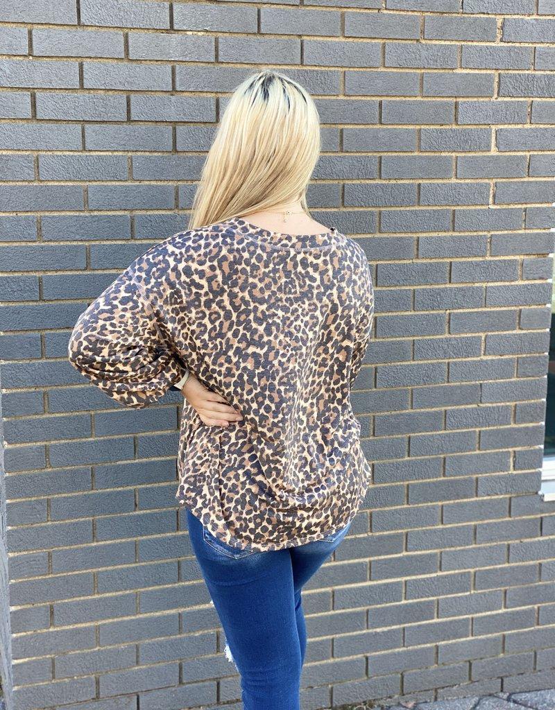 Red Door Leopard print long sleeve v-neck top