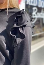 Red Door Black long sleeve w/ ruffle shoulder