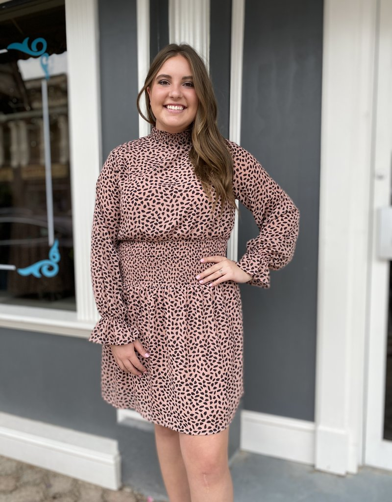 Red Door Chiffon rose speckled print dress
