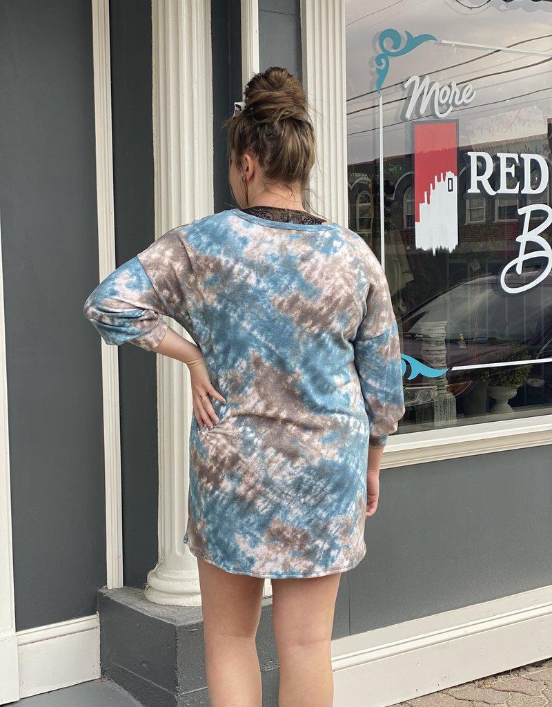 Red Door Blue/brown tie dye dress