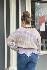 Red Door Lavender/Taupe tie dye distressed sweater