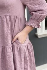Red Door Mauve crinkled ruffle babydoll dress