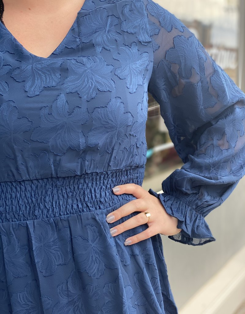 Red Door Teal blue woven dress with waist smocking