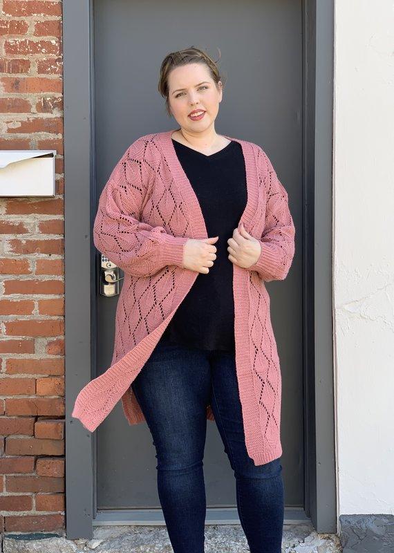 Red Door Dusty pink knit long cardigan