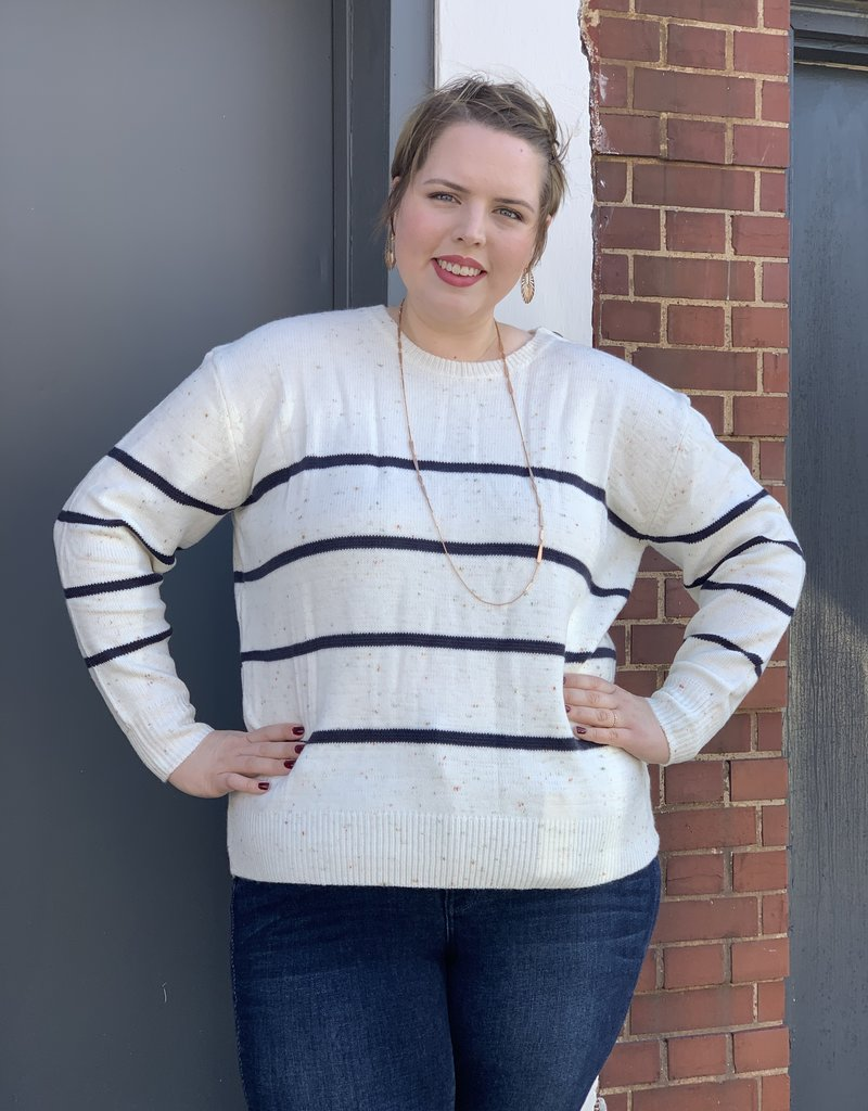 Red Door Speckled sweater with stripes
