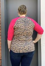 Red Door Hot pink leopard top with aztec