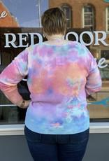 Red Door Tie dye vneck top