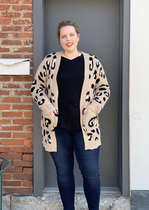 Red Door Leopard soft cardigan with pockets