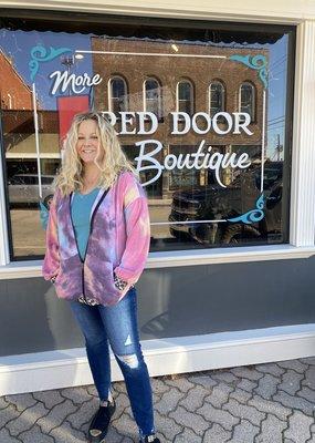 Red Door Tie Dye Zipper Jacket w/ leopard hood