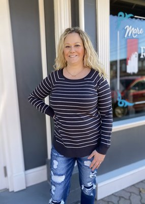 Red Door Charcoal/ivory striped sweater