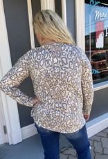 Red Door Knit leopard one shoulder top with cross shoulder strap