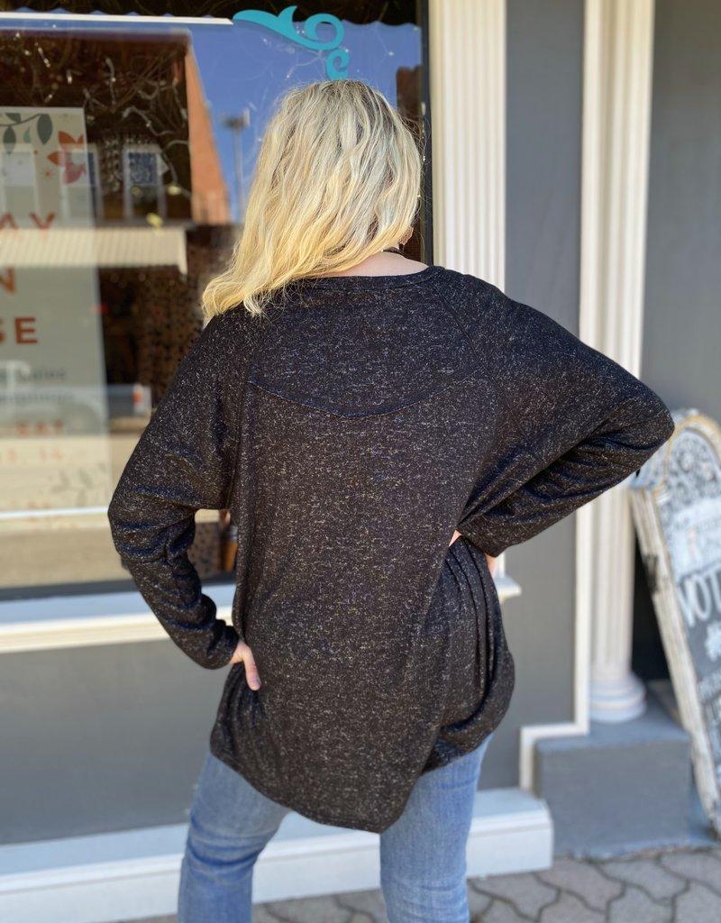 Red Door Solid heather charcoal sweater w/ dolman sleeve