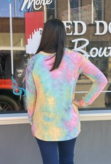 Red Door Multi-colored tie dye top w/ leopard detailing
