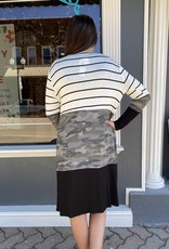 Red Door Camo and stripe color block cardigan