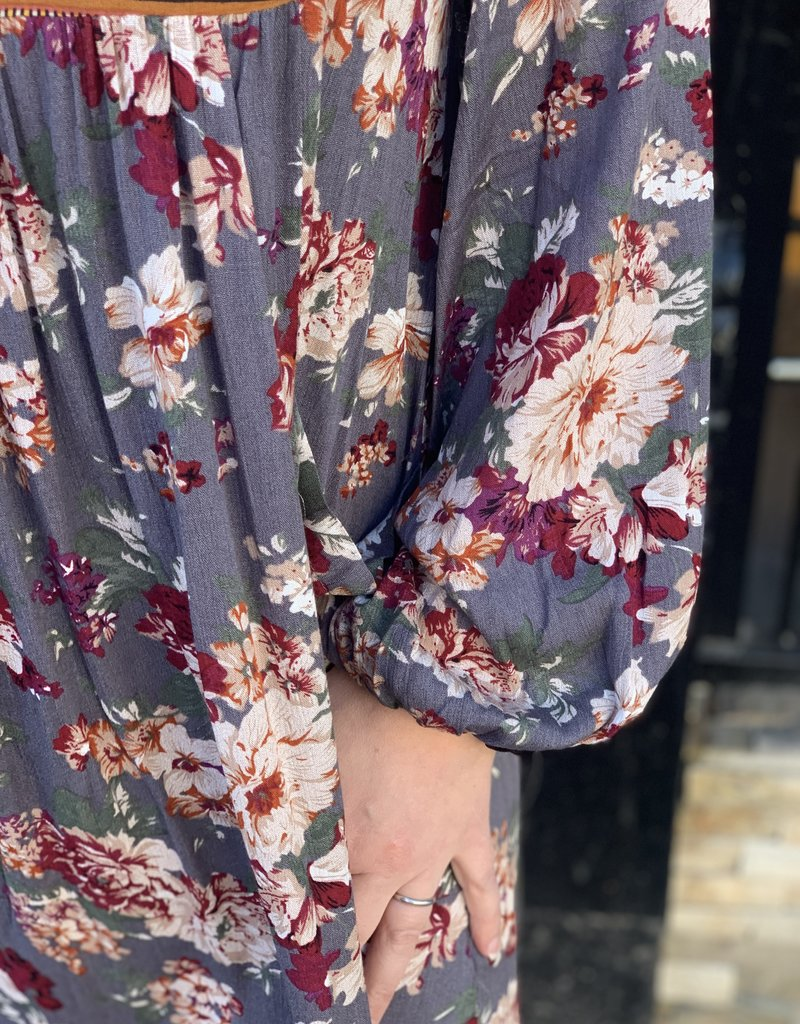 Red Door Grey floral mix peasant dress