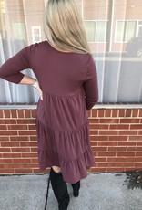 Red Door Rust tiered three quarter sleeve dress