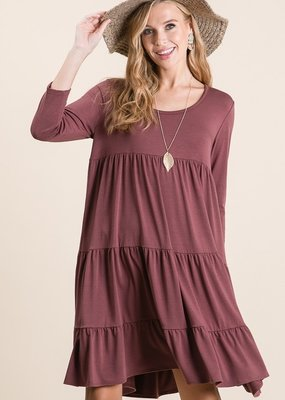 Red Door Rust tiered three quarter sleeve dress