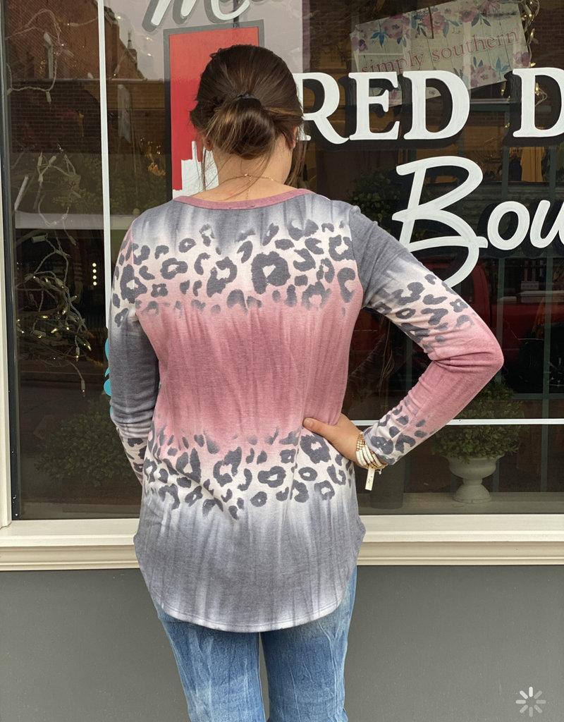 Red Door Blush tie dye leopard top