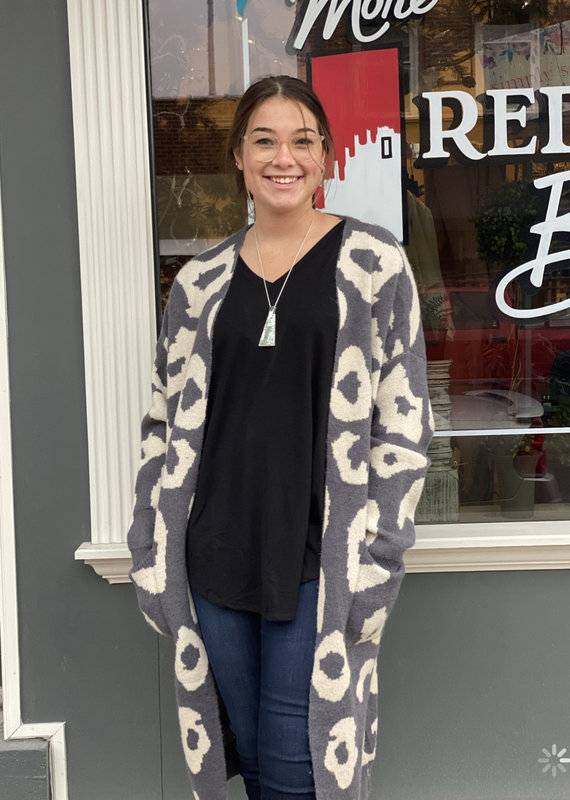 Red Door Charcoal leopard cardigan with pockets