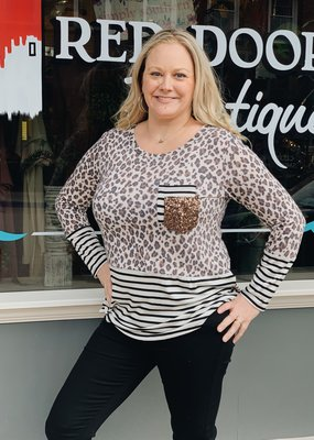 Red Door Taupe leopard sequin pocket top with stripes