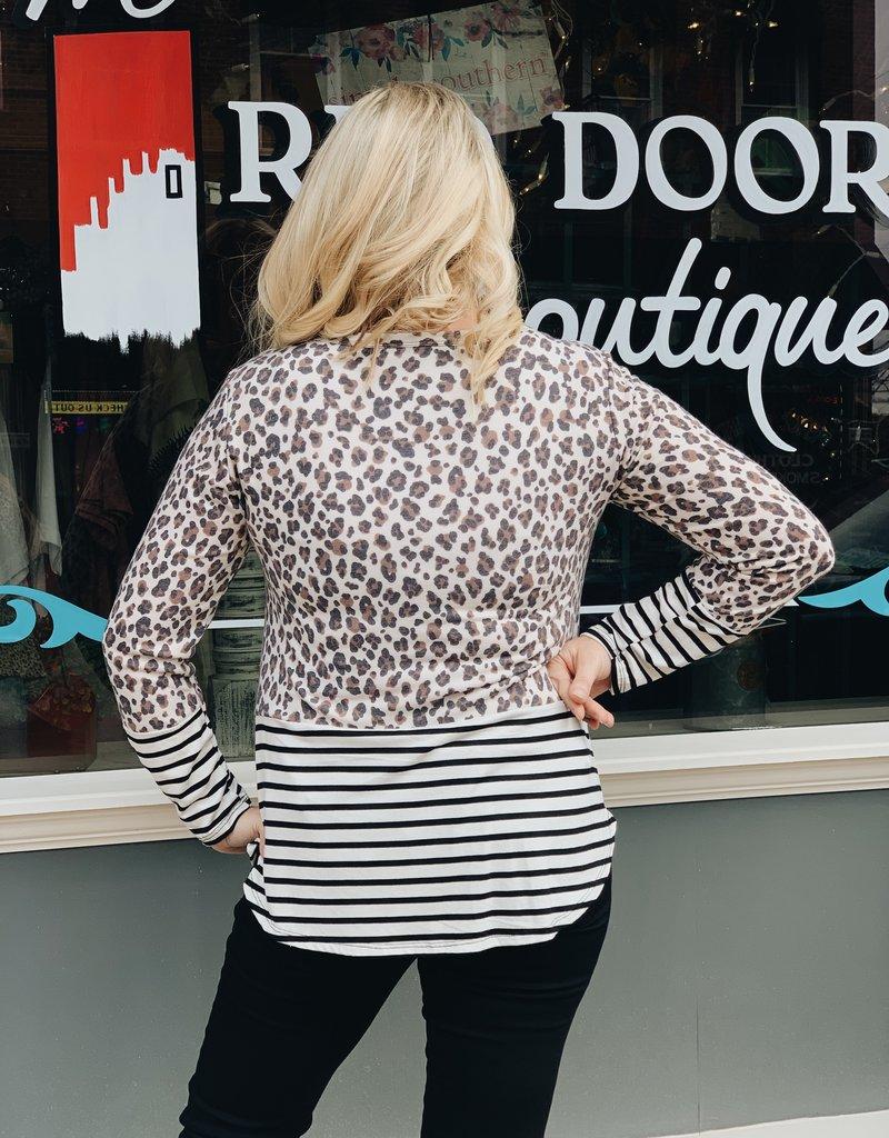 Red Door Taupe leopard sequin pocket top with stripes