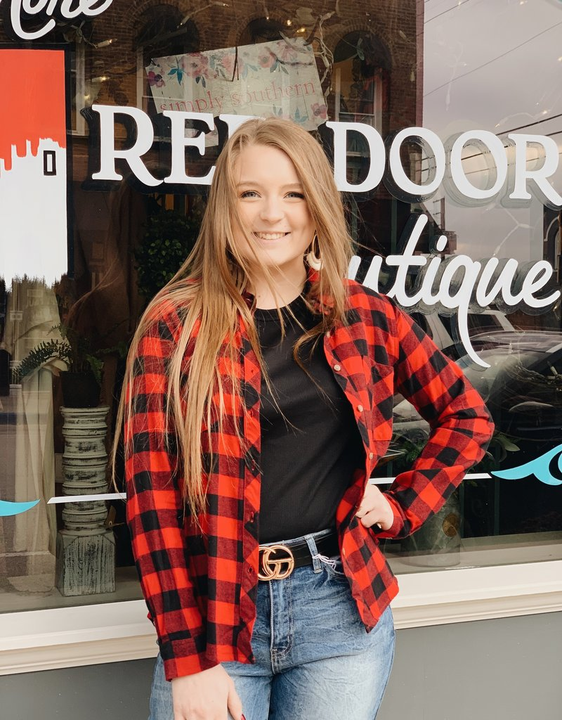 Red Door Red & Black Plaid Top