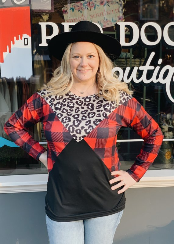 Red Door Red buffalo plaid triangle top with leopard