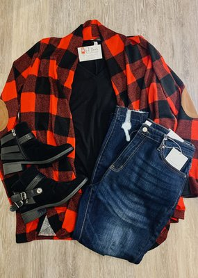 Buffalo plaid cardigan with elbow patch