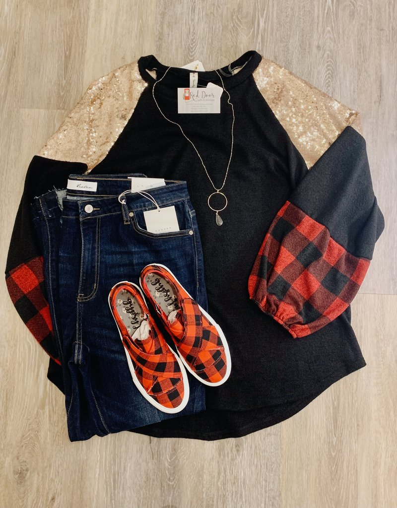 Red Door Black top with rose gold sequin and buffalo plaid