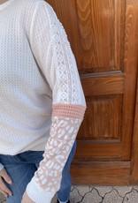 Red Door White waffleknit top w/ pink leopard detail