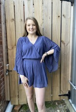 Red Door Slate romper w/ pleated sleeves