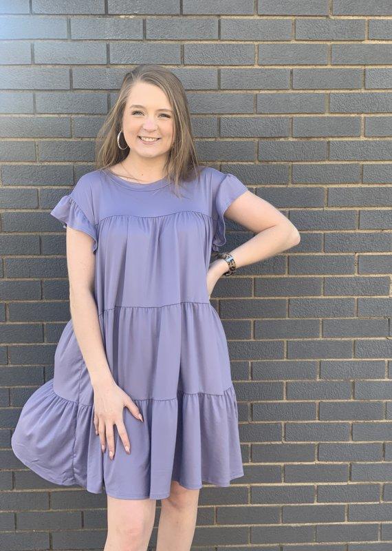 Red Door Lavender tiered ruffle shoulder dress